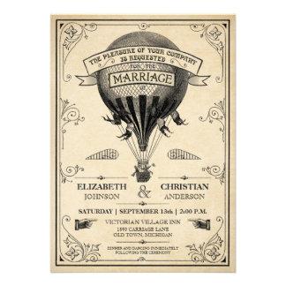 Invitación del boda del globo del aire caliente de