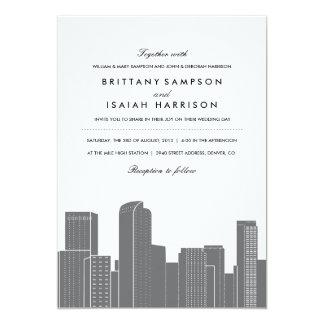 Invitación del boda del horizonte de Denver