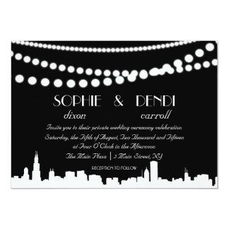 Invitación del boda del horizonte de la ciudad