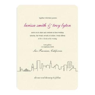 Invitación del boda del horizonte de la ciudad de invitación 12,7 x 17,8 cm