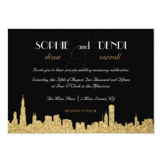 Invitación del boda del horizonte de la ciudad del