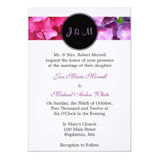 Invitación del boda del Hydrangea del monograma