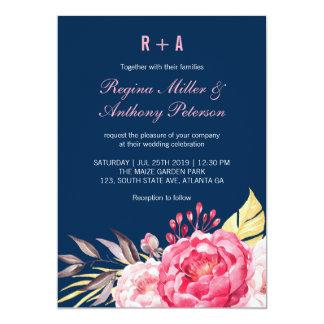 Invitación del boda del jardín de flores del rosa