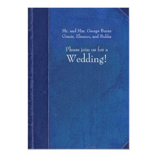 Invitación del boda del libro del vintage del azul