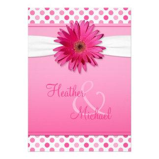 Invitación del boda del lunar del rosa de la marga