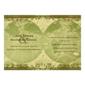 Invitación del boda del mapa del mundo del oro ver