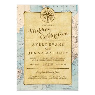 Invitación del boda del mapa del World Travel del