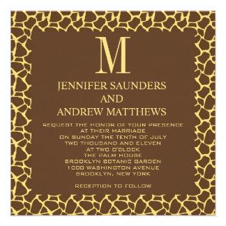 Invitación del boda del modelo de la jirafa con el