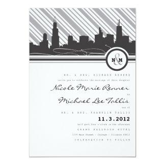 Invitación del boda del monograma de Chicago Invitación 12,7 X 17,8 Cm