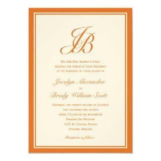 Invitación del boda del monograma de la escritura invitación 12,7 x 17,8 cm