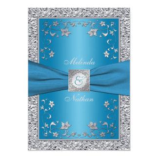 Invitación del boda del monograma de la hoja azul