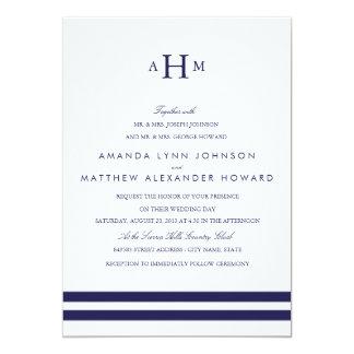 Invitación del boda del monograma de la marina de