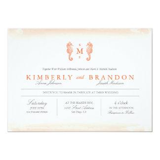 Invitación del boda del monograma de la playa