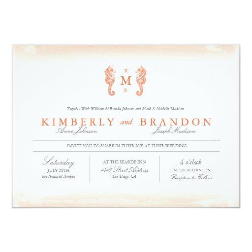 Invitación del boda del monograma de la playa invitación 12,7 x 17,8 cm