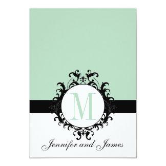 Invitación del boda del monograma de la verde