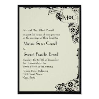 Invitación del boda del monograma de Nouveau Invitación 12,7 X 17,8 Cm