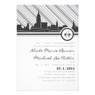 Invitación del boda del monograma de Nueva York