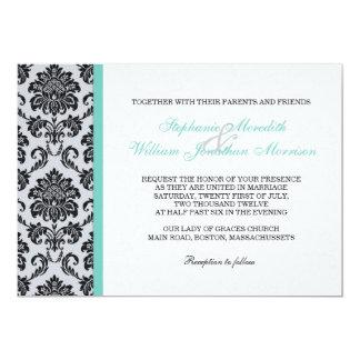 Invitación del boda del monograma del damasco de