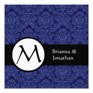 Invitación del boda del monograma del damasco del invitación 13,3 cm x 13,3cm