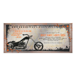 Invitación del boda del motorista o de la motocicl