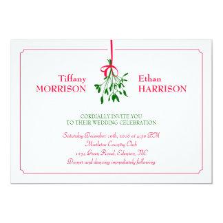 Invitación del boda del muérdago del navidad