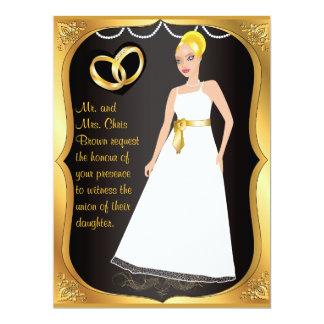 Invitación del boda del negro del corazón de la