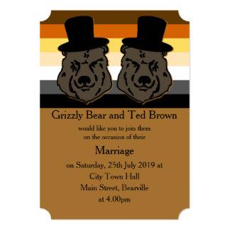 Invitación del boda del orgullo del oso invitación 12,7 x 17,8 cm