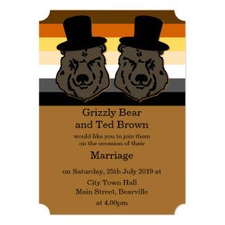 Invitación del boda del oso para los hombres gay invitación 12,7 x 17,8 cm