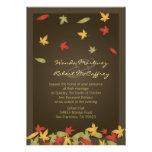 Invitación del boda del otoño de las hojas que cae