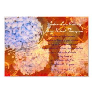 Invitación del boda del otoño del Hydrangea Invitación 12,7 X 17,8 Cm
