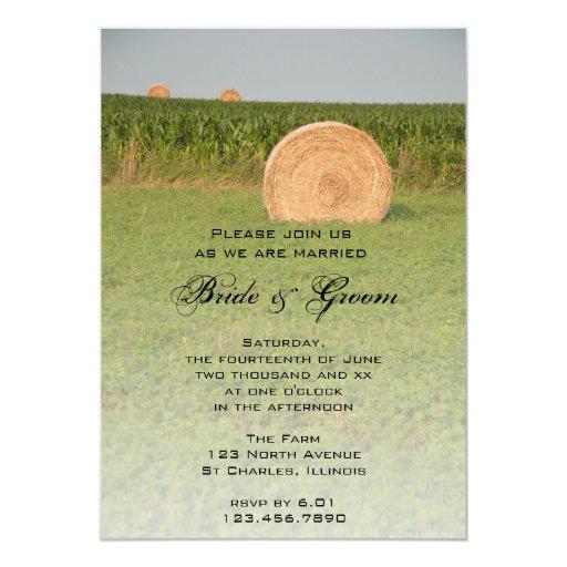 Invitación del boda del país de las balas de heno