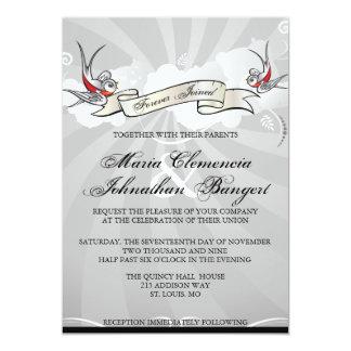 Invitación del boda del pájaro del trago del