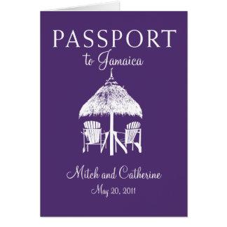 Invitación del boda del pasaporte de Jamaica de la Tarjeton