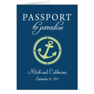 Invitación del boda del pasaporte de la travesía felicitacion