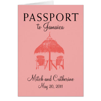 Invitación del boda del pasaporte de Ocho Rios Jam Tarjetón