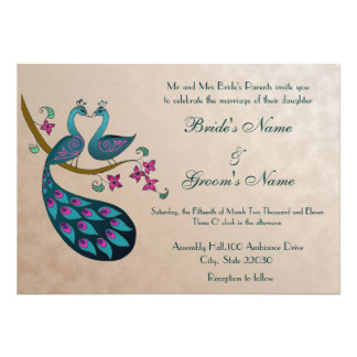 Invitación del boda del pavo real, de color de mal