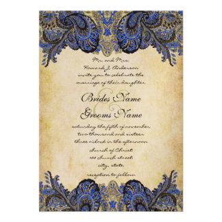 Invitación del boda del pavo real de Paisly de la