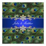 Invitación del boda del pavo real del azul real