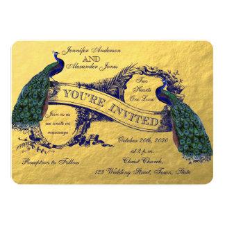 Invitación del boda del pavo real del oro