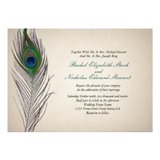 Invitación del boda del pavo real del vintage