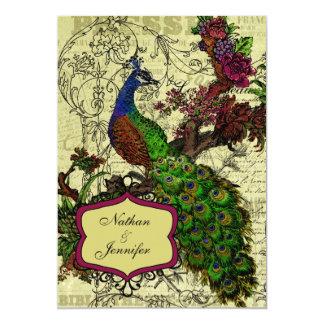 Invitación del boda del pavo real del vintage invitación 12,7 x 17,8 cm