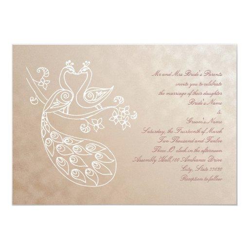Invitación del boda del pavo real, estilo de invitación 12,7 x 17,8 cm