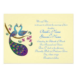 Invitación del boda del pavo real (kantha/marfil)
