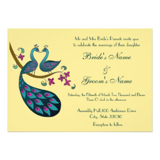 Invitación del boda del pavo real, paja