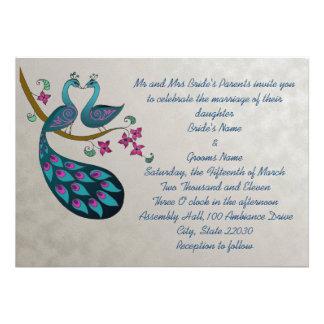 Invitación del boda del pavo real, plata