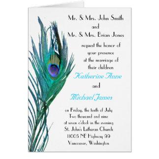 Invitación del boda del pavo real tarjetón
