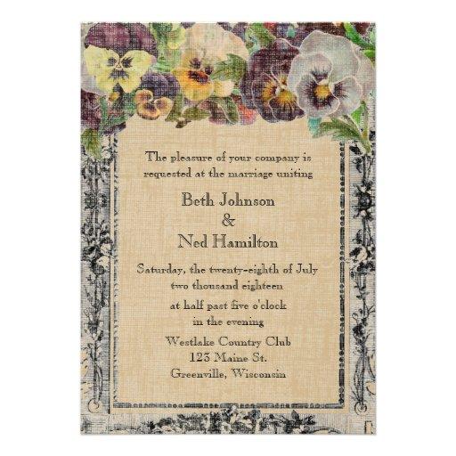 Invitación del boda del pensamiento del vintage