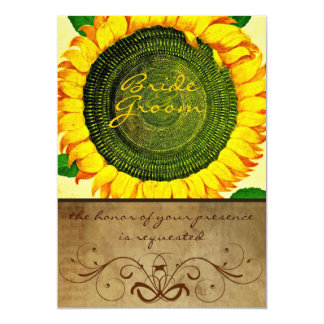 Invitación del boda del pergamino del girasol