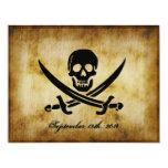 Invitación del boda del pirata invitación 10,8 x 13,9 cm