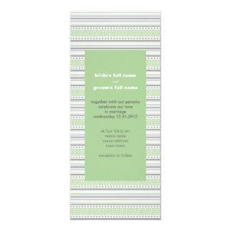 Invitación del boda del pistacho de la raya del